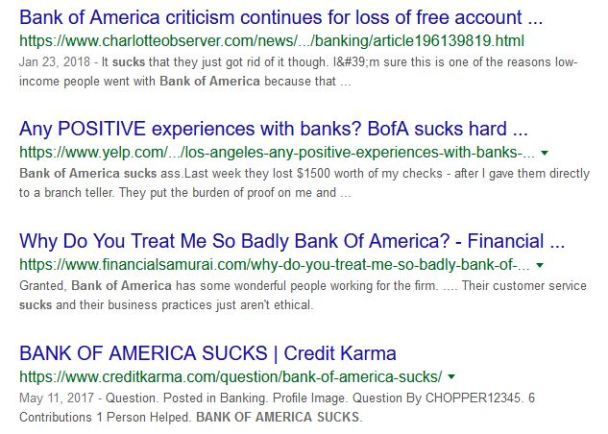 Bank of America sucks. BOA is the worst excuse for a bank